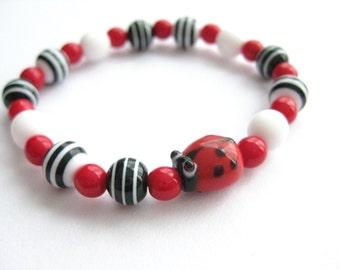 Girls Ladybug Bracelet, Red, Black and White, Beaded, Large, GBL 134