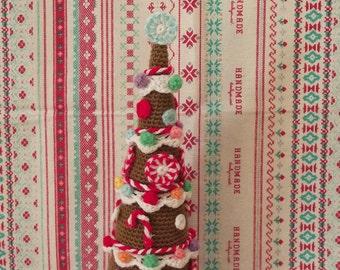 Gingerbread Christmas Tree / Whimsical Xmas Tree / Small Xmas Tree / knitted Christmas Tree / Gingerbread Xmas Decor / Handmade Xmas Tree