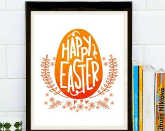 Happy Easter Watercolor - Easter, Easter Print, Easter Art, Easter Wall Art, Calligraphy, Calligraphy Art, Orange, Easter Eggs, Spring