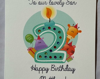 Personalised Handmade Childrens 2nd/3rd Birthday Card-Boy