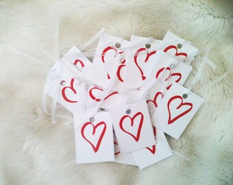 Pack of red heart Valentine gift tags. Wholesale gift tags. UK gift tags