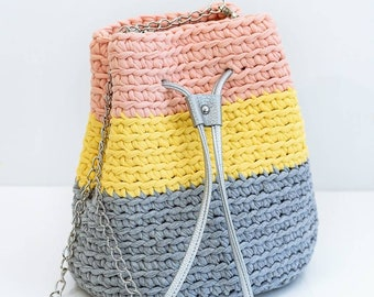 Grey yellow pink crochet bag T-shirt yarn bag Women crochet bag Crochet bag with faux leather silver handles