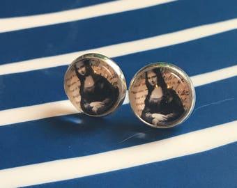 Mona Lisa glass cabochon earrings - 16mm