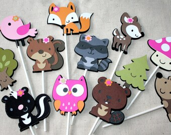 Woodland Animals Cupcake Toppers Girl