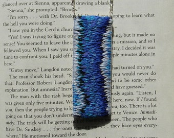 Hand embroidered rectangle pendent necklace, textile art necklace, blue pendent necklace, statement necklace