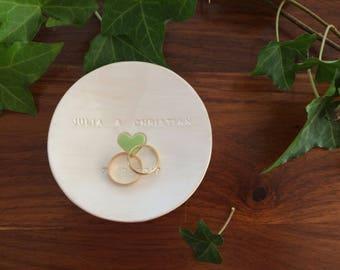 "Personalized wedding ring dish, personalised white ring Bowl ""Boston"" made of ceramics"