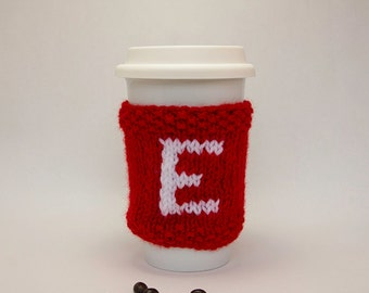 Monogram Cup Cozy hand knitted, personalized cozy, Mug Sweater, Eco Friendly Mug Cozy, Reusable, Eco Friendly, Travel Mug Cozy, gift for her