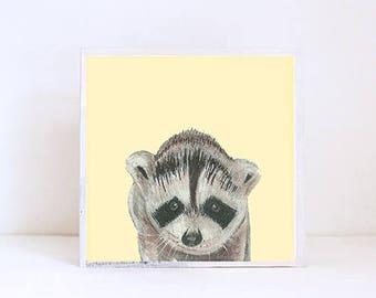 woodland nursery art, forest nursery decor, raccoon wall art- nursery decor- kids room decor- art block- wall art- nusery- redtilestudio