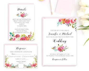 Wedding invitation, printable wedding invitation, floral wedding invite, Boho wedding, Rustic wedding, outdoor wedding suite, wedding invite