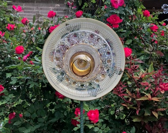 Glass plate flower, Glass flower, Plate flower, Garden decor, Glass garden decor, Yard art, Garden art, Suncatcher, Yard ornament, Gold