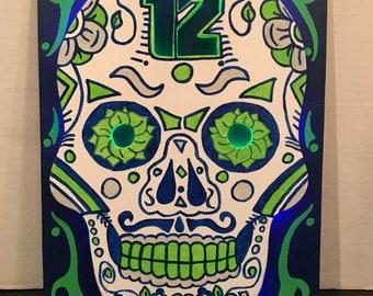 Seattle Seahawks Sugar Skull Sign
