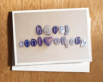 Happy Anniversary CARD Original Photo on Nice Thick Card Stock, Love Card, Anniversary Card, Heart Stone, Alphabet Stones, Photography Card