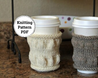 Knitting Pattern | Cup Cozy Pattern | Knitted Cup Cozy | Tea Cozy | Coffee Cozy | Squoosh | Knitted Tea Cozy