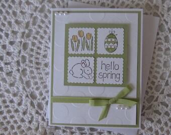 Handmade Greeting Card: Hello Spring/Easter (Green  Version)