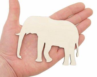 Wooden Elephant Shape (12cm) Wood Elephants Embellishment Craft Decoration Gift Decoupage MG000502