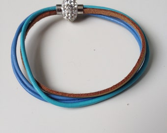 Blue Multi Strand Leather Bracelet with Magnet Clasp - Blue Leather Bracelet - Crystal Magnet Clasp - Blue Leather Bracelet - 7 inch