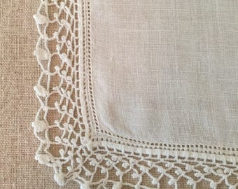 Vintage White Linen Hanky with Handmade Lace    Hankie~ Handkerchief