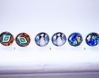 Cabochon earring studs