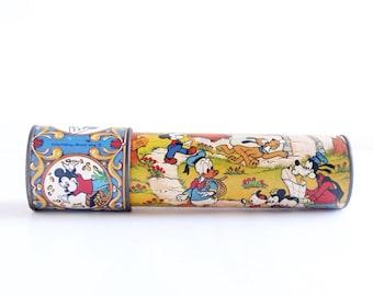 Vintage Walt Disney kaleidoscope, Disneyana, Mickey Mouse, Minnie Mouse, Donald Duck, Goofy, Pluto, toy, mid century, 1950s
