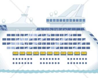 Cruise Ship - Vector Cartoon Clipart Illustration. cruise, ship, passenger ship, yacht, sailing, shipping, vacation, travel, ferry, tourism,