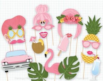 Flamingo Photo Booth Props, Pink Photobooth Props, Flamingo Party, Pink Tropical Theme, Flamingle Party, Birthday Party, Wedding Photo Booth