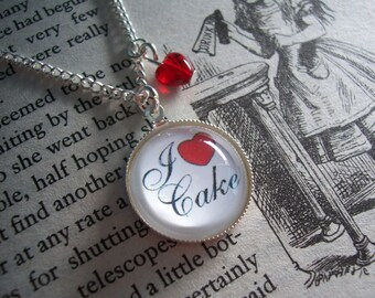 I Love Cake - silver necklace