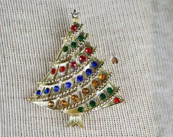Christmas Tree Brooch Rainbow Multi Color red green blue yellow