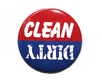 Clean Dirty Dishwasher Magnet - Red White and Blue - 3 inch