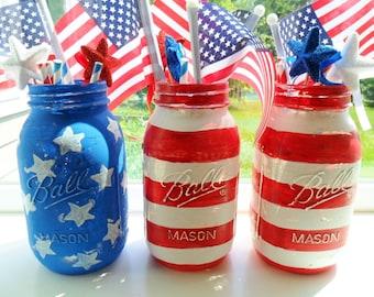 American Flag Hand Painted Mason Jars 4th of July Fireworks Patriotic Mason Jar Decor Holiday Decor Summer Celebration Stars and Stripes Set