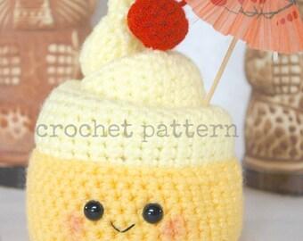 CROCHET PATTERN-pineapple whip-dole freeze-tiki juice bar-dole whip-crochet plush dole whip pattern- amigurumi frozen yogurt-amigurumi food