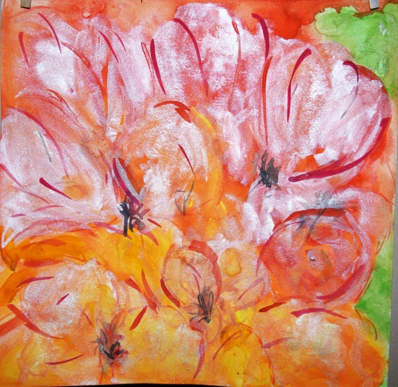 Painting, watercolor, Poppies