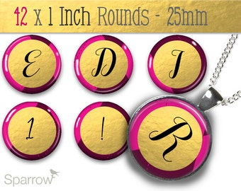 Gold Foil and Fushia Alphabet & Numbers - One (1x1) Inch Bottle Cap Images -Digital Sheets -Scrapbooking -Buy 2 Get 1 Free -Digital Download