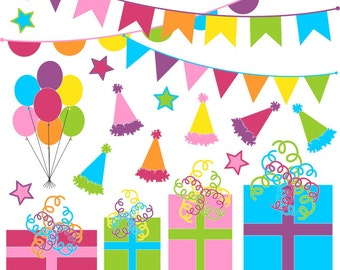 80% OFF SALE Clipart Birthday Party, Presents, Bunting, Birthday Party Clip Art