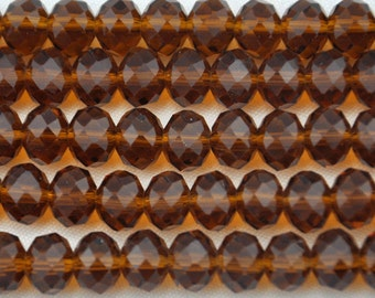 1 Strand 72pcs Faceted Crystal Glass Rondelle Loose Beads 8mm brown Jewelry Findings--- J0086