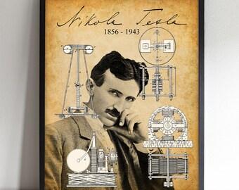 Nikola Tesla Portrait - Printable Art - Great Gift for Tesla Enthusiasts - Instant Download