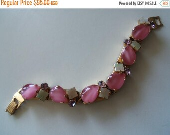 ON SALE Vintage Pink Rhinestone Bracelet 1950's Collectible Mad Men Mod Mid Century Hollywood Regency Rockabilly Jewelry