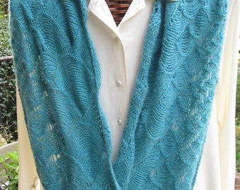 Turquoise Cashmere Hand-Knitted Infinity Scarf