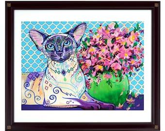Cat art print, Cat decor, Siamese cat art, Cat lover gift, Cat wall art