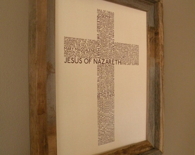 The Life of Jesus Word Art Cross Print (Beige and Brown) - Unframed