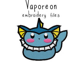 Pokemon Vaporeon EMBROIDERY MACHINE FILES pattern design hus jef pes dst all formats Instant Download digital applique kawaii cute