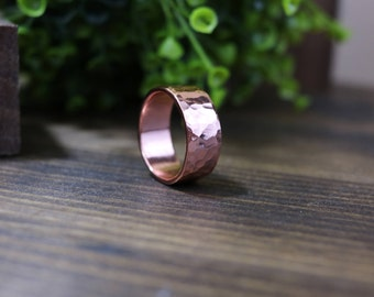 JUDE Ring - Bright Polished Hammered Wide Copper Ring, 9 mm wide