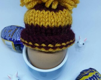 Harry Potter Grinfindor colours - Easter egg hat - handknitted egg cozy - egg warmer - novelty easter gift - personalised