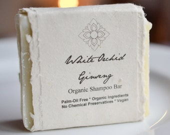 White Orchid Ginseng Organic Shampoo Bar, Moisturizing Formula, Palm Oil Free