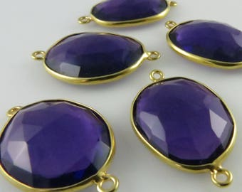 28mm - 29mm Amethyst Bezel Focal Pendant Connector, Oval Faceted, Gold-Filled - ONE PIECE