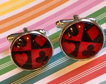 Playing card suits glass cabochon cufflinks - 16mm