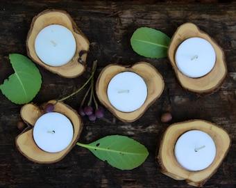 Juniper wood candle holders