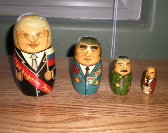 "1991 Unique Set of 4 Soviet Leader Nesting Dolls: 6"" Yeltsin, 4.5"" Brezhnyev, 3"" Stalin, and 1.75"" Lenin"