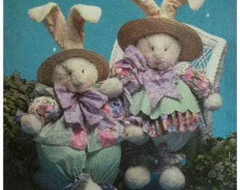"Fat Stuffed Bunnies Pattern, Girl and Boy Clothes, Plush Fabric, Simplicity No. 7020 UNCUT Size 32"" (81.5 cm) Tall"