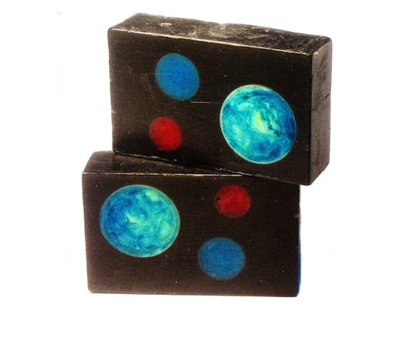 The SPACE Bar - Activated Charcoal, Moringa Powder with Bergamot & Grapefruit Essential Oil / VEGAN / Cosmos / Universe / Planets / Art
