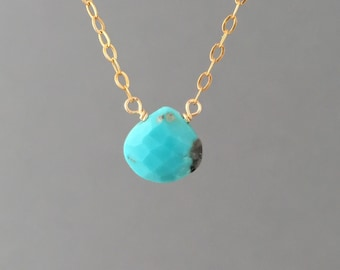 Tiny Turquoise Teardrop Necklace available in gold, rose gold, or silver